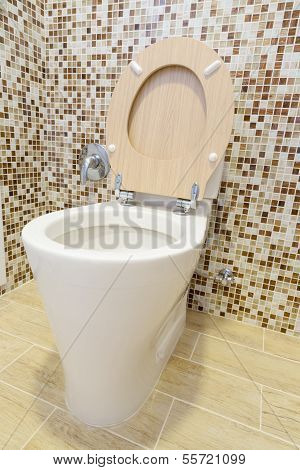Toilet With Wooden Cover