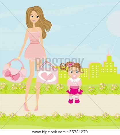 Mother And Daughter Walking In The Park