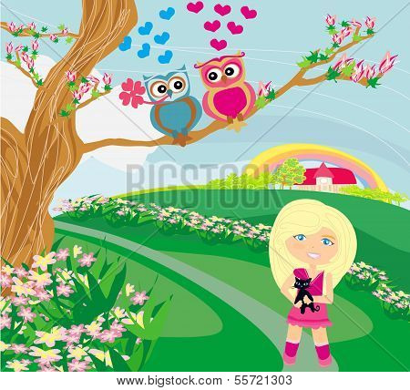 Owls In Love On Spring Scenery