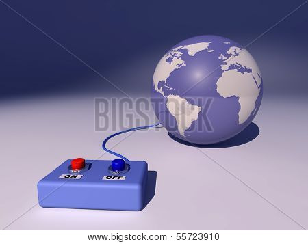 Planet earth connected to a box with buttons on and off