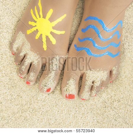 Holiday - little girl with painted feet