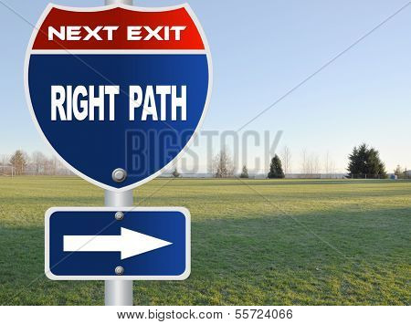 Right path road sign with nature sky view