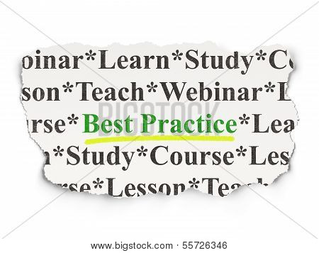 Education concept: Best Practice on Paper background