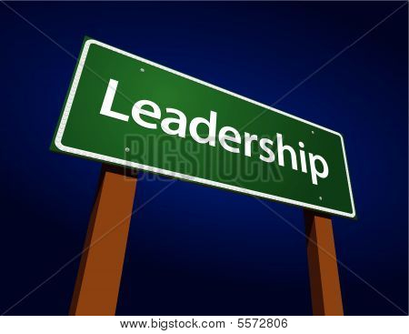 Leadership Green Road Sign Illustration