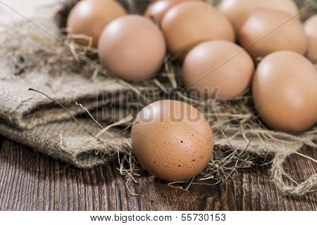 Some Brown Eggs In Hey