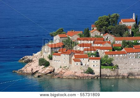 Sveti Stefan Old Town nearby Budva in Montenegro