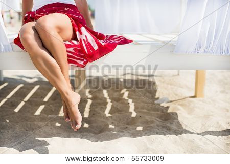 Woman's legs at beach