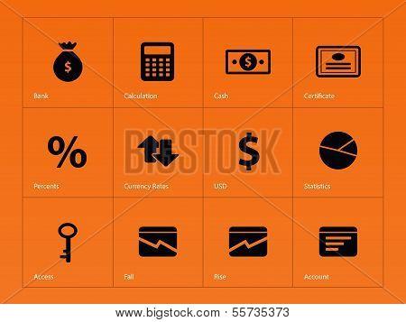 Economy icons on orange background.