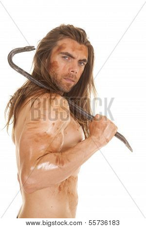 Man No Shirt Dirty With Crowbar