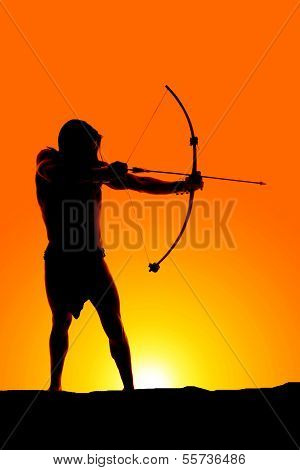 Silhouette Man With Bow And Arrow
