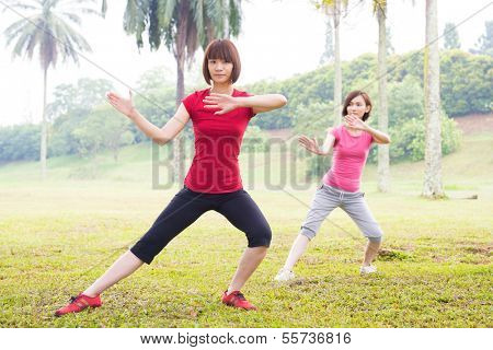 Asian girls practicing tai chi in the outdoor park