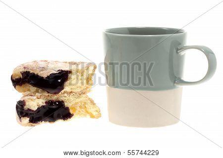 Donut With Mug Isolated On White