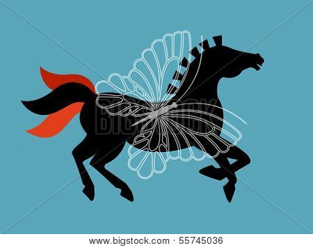 Magical horse  Butterfly superimposed (layered)