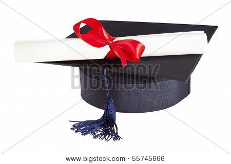 Mortarboard And Parchment Certificate Isolated On White Background