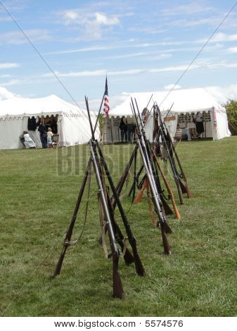 Union Army Rifles, Stacked In Camp
