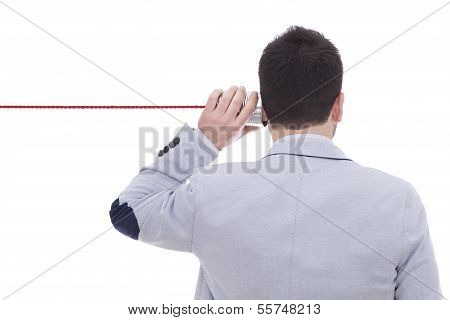 Man Talking On A White Background