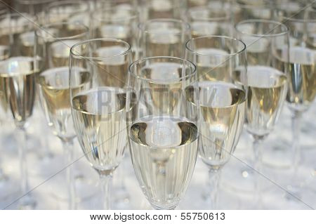 Close Up Of Many Champagne Glasses