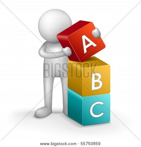 3D Child And Word Abc