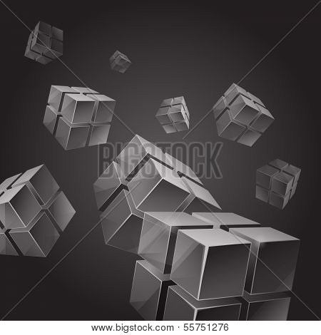 Flying gray transparent cubes abstract background