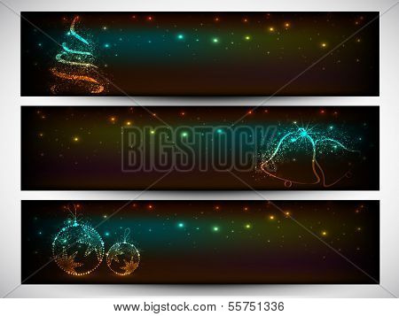 Website header or banner set design for Merry Christmas celebration with shiny Xmas tree, jingle bell and Xmas ball on shiny green background.