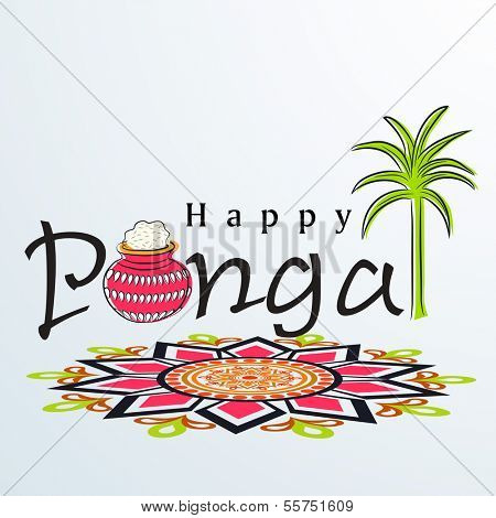 Happy Pongal, harvest festival celebration in South India with pongal rice in a traditional mud pot, sugarcane and beautiful floral design called rangoli.
