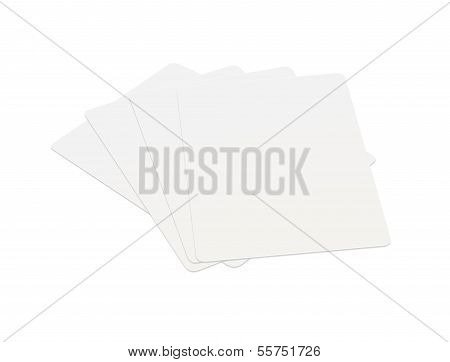 Blank cards game stack on white background.