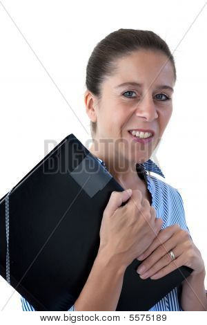 Middle Aged Business Woman Smiling Holding A File