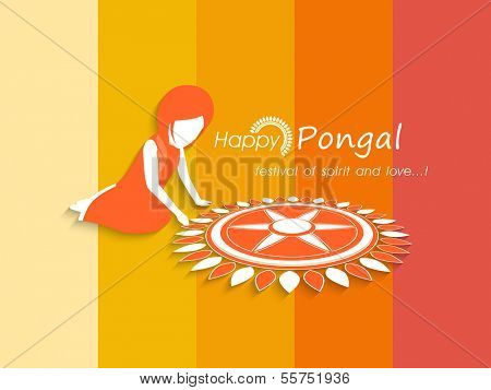 Illustration of a girl making beautiful floral design called rangoli on occasion of Happy Pongal, harvest festival celebration in South India on colorful background.