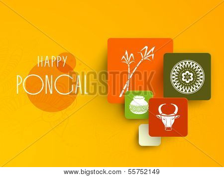 Happy Pongal, harvest festival celebration in South India with colorful stickers on bright yellow background.