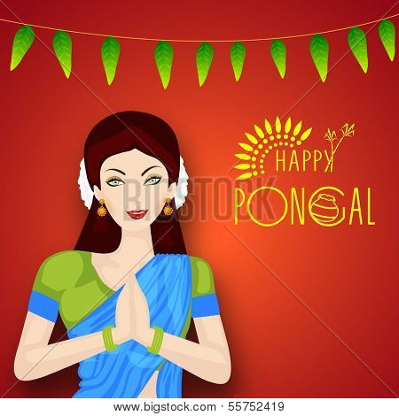 Beautiful girl in traditional outfits saree folded hands representing India culture greeting namaste on occasion of harvest festival celebration in South India, Happy Pongal.