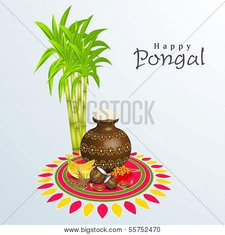 Happy Pongal, harvest festival celebration in South India with pongal rice in a traditional mud pot and sugarcane on beautiful floral design called rangoli.