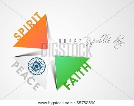 Creative Happy Indian Republic Day concept with meaning of national tricolour flag with  on grey background.