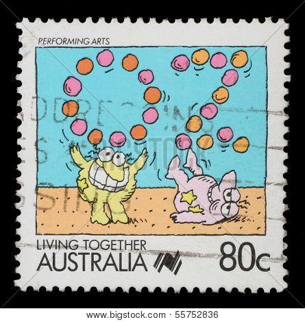 AUSTRALIA - CIRCA 1988: A stamp printed in Australia shows Performing arts jugglers, circa 1988