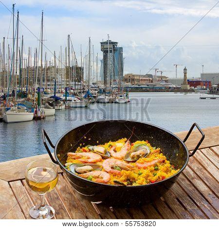 Seafood paella in seaside cafe, Barcelona