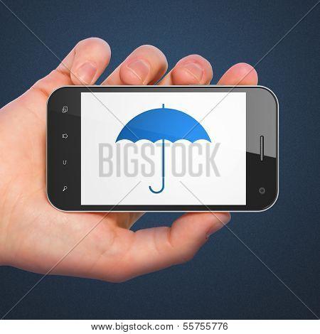 Privacy concept: Umbrella on smartphone