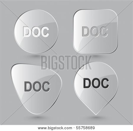 Doc. Glass buttons. Raster illustration.