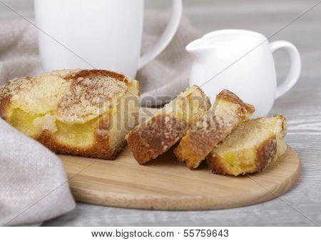 Fresh Fruitcake And Coffee