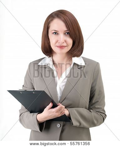 Pretty Business Woman In Gray Suit With Tablet Isolated On White Background
