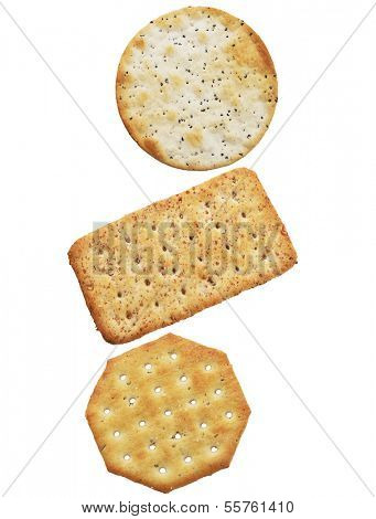 Wheat Crackers Isolated On White Background