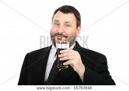Bearded Man In Suit Keeping Ale Glass