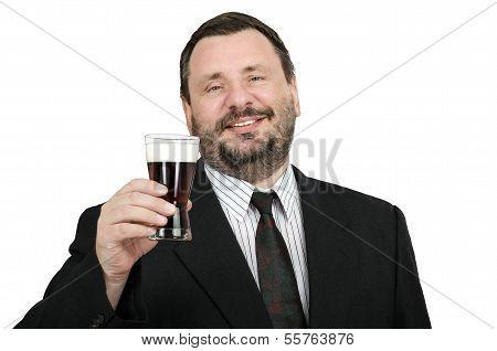 Bearded Man Inviting For Dark Beer Fest