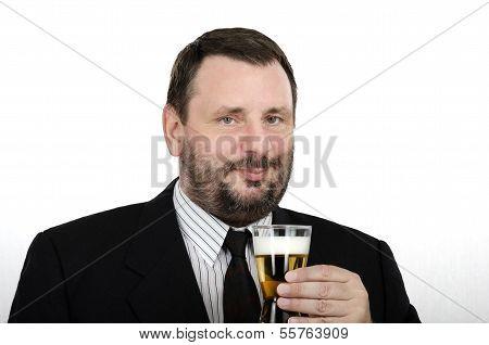 Office Man Holding Lager Glass