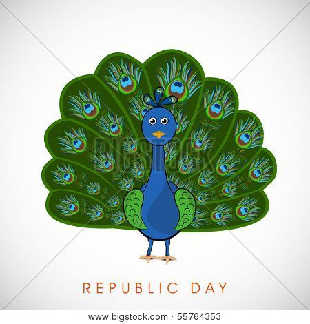 Happy Indian Republic Day concept with national bird peacock in dancing position on grey background.