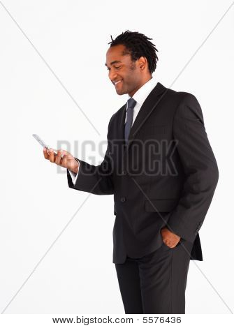 Handsome Businessman Sending Text Message