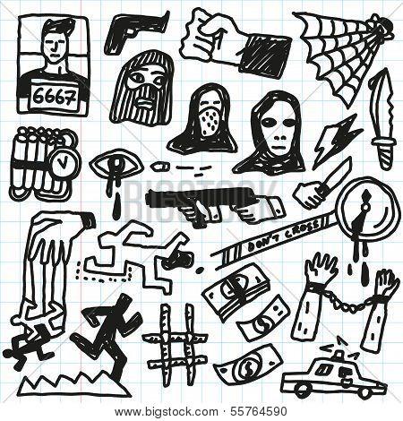 Crime, violence - doodles set
