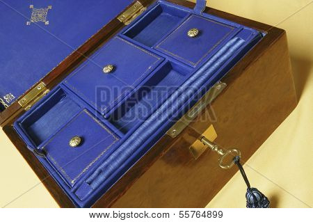 Old Jewelry Box With Compartments On Blue Velvet