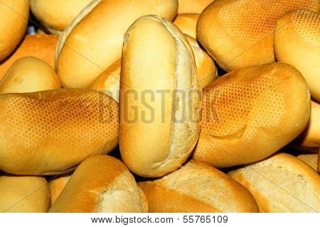 Small Elongated French Breads In Yellow White Colors Macro