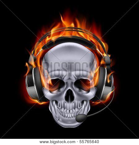 Fiery skull in headphones.