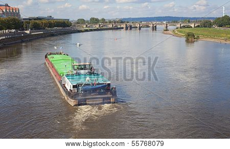 Freighter On Lake Elbe In Dresden