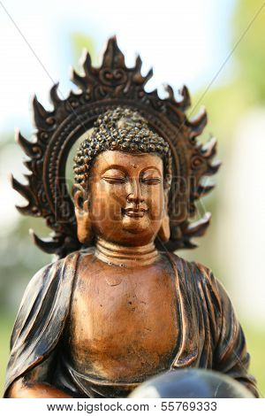 Copper Like Mini Sculpture Of Buddha